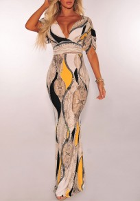 Yellow Floral Print Draped Backless Deep V-neck Prom Evening Party Elegant Maxi Dress