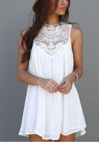White Patchwork Lace Cut Out Buttons Round Neck Mini Dress