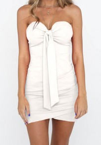 White Bow Bodycon Party Going out Sweet Mini Dress