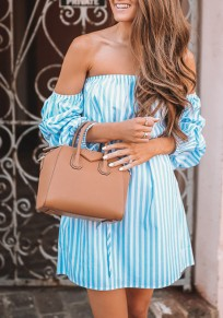Sky Blue Striped Sashes Off Shoulder Backless Homecoming Party Sweet Mini Dress