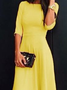 Yellow Draped Bodycon Half Sleeve Banquet Elegant Party Bridesmaid Prom Maxi Dress
