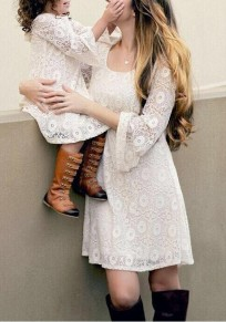 White Floral Lace Flare Sleeve A-Line Elegant Party Mini Dress