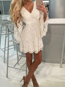 White Patchwork Lace Ruffle Pleated V-neck Flare Sleeve High Waisted Bridesmaid Party Mini Dress
