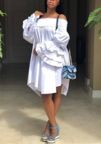 White Cascading Ruffle Draped Irregular Bell Sleeve Off Shoulder Cute Party Midi Dress