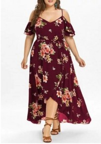 ac00a326 Burgundy Floral Print Sashes Slit Off Shoulder High-low High Waisted Plus  Size Deep V