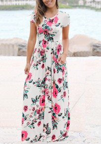 White Floral Pockets Draped Flowy High Waisted Bohemian Elegant Party Maxi Dress