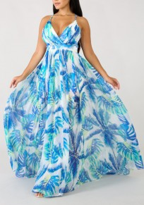 Sky Blue Floral Draped Spaghetti Strap Backless V-neck Flowy Bohemian Party Maxi Dress