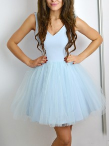 09aaaa5c75d8 Light Blue Patchwork Grenadine Pleated Fluffy Puffy Tulle Deep V-neck Party  Mini Dress