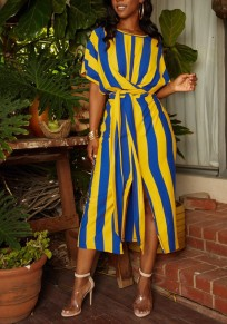 Yellow Striped Sashes Slit Ruched Batwing Sleeve Elegant Party Maxi Dress