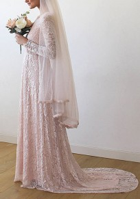 Pink Draped Lace Off Shoulder V-neck Elegant Widding Party Maxi Dress