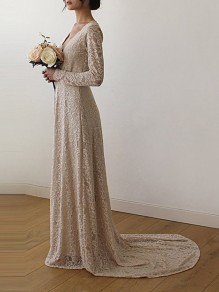 Beige Draped Lace Off Shoulder V-neck Elegant Widding Party Maxi Dress