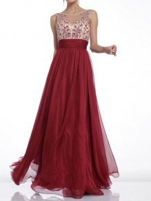 Red Cut Out Zipper Backless Grenadine Maxi Dress