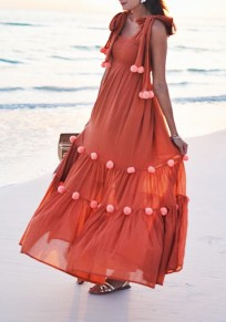 Orange Draped Side Slit Fur Ball Lace-up Square Neck Bohemian Party Maxi Dress