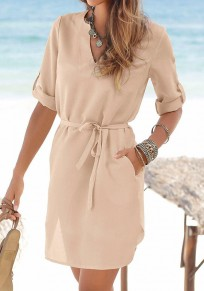 Khaki Sashes Pockets Buttons V-neck Fashion Mini Dress
