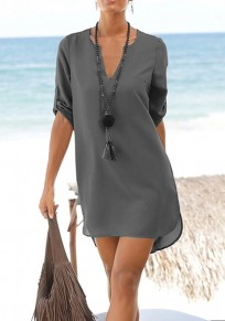 Grey Sashes Pockets Buttons V-neck Fashion Mini Dress