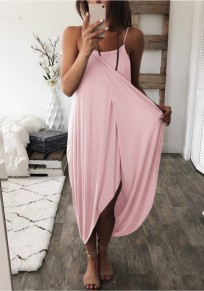 Pink Draped Irregular Spaghetti Strap Fashion Maxi Dress