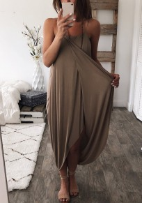 Khaki Draped Irregular Spaghetti Strap Fashion Maxi Dress