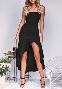 Black Ruffle Irregular High-low Spaghetti Strap Backless Fashion Maxi Dress