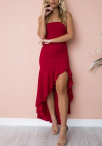 Red Ruffle Irregular High-low Spaghetti Strap Backless Fashion Maxi Dress