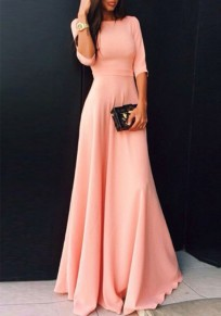 Pink Draped Bodycon Half Sleeve Party Going out Maxi Dress