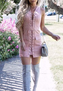 Pink Pockets Lace-Up Club Evening Cocktail Party Casual Mini Dress