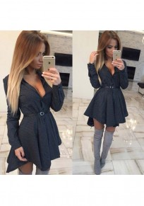 Black Polka Dot Buttons Long Sleeve Fashion Mini Dress