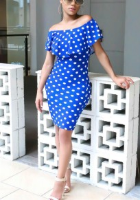 Blue White Polka Dot Print Ruffle Off Shoulder Bodycon Sweet Going out Party Mini Dress