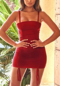 Red Spaghetti Strap Lace-up Off Shoulder Drawstring Backless Pleated Clunwear Party Mini Dress