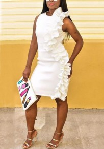 White Ruffle Asymmetric Shoulder Bodycon Elegant Church Party Midi Dress