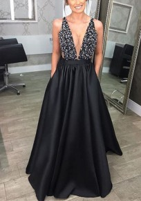 Black Deep V-neck High Waisted Sequin Backless Pleated Elegant Party Maxi Dress