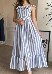 Light Blue Striped Spaghetti Strap Single Breasted Ruffle Slit Sweet Party Maxi Dress