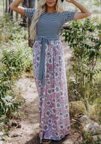 Pink Striped Flowers Pockets Sashes Bow Round Neck Maxi Dress