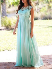 Light Blue Lace Draped High Waisted Cut Out Formal Bridesmaid Cocktail Party Elegant Maxi Dress