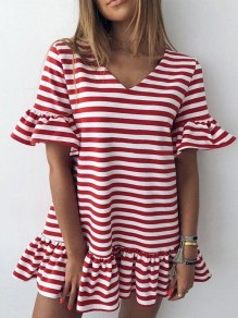 Red Striped Ruffle Puff Sleeve V-neck Homecoming Party Cute Mini Dress