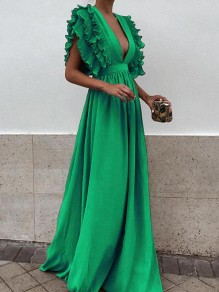 Green Pleated Ruffle Deep V-neck Evening Party Prom Cute Elegant Maxi Dress