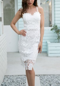 White Patchwork Lace Cut Out Spaghetti Straps V-neck Elegant Mini Dress
