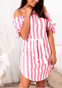 White Striped Ruffle Bow Boat Neck Fashion Midi Dress