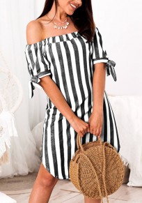 Black Striped Print Bow Off Shoulder Backless Fashion Midi Dress