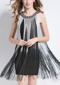 Silver Tassel Bright Wire Round Neck Party Mini Dress