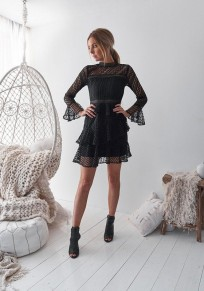 Black Patchwork Lace Tiered Long Sleeve Fashion Mini Dress