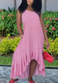 Pink Plaid Spaghetti Strap Pockets Ruffle Draped High-Low Beachwear Casual Maxi Dress