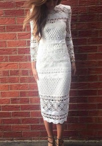 White Cut Out Bodycon Band Collar Elegant Party Midi Dress