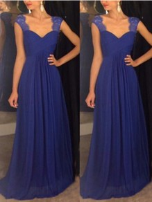 Blue Lace V-neck High Waisted Draped Flowy Elegant Bridesmaid Graduation Party Maxi Dress