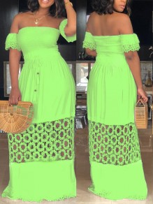 Green Patchwork Lace Off Shoulder Cut Out Backless Party Elegant Maxi Dress