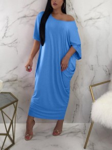 Light Blue Draped One Shoulder Boat Neck Short Sleeve Casual Maxi Dress