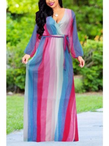 Blue Color Block Print Sashes Draped High Waisted Long Sleeve Deep V-neck Bohemian Maxi Dress