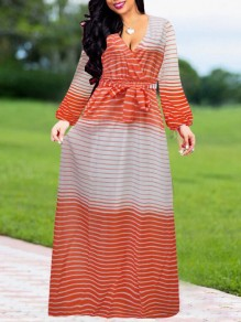 Orange Color Block Print Sashes Draped High Waisted Long Sleeve Deep V-neck Bohemian Maxi Dress