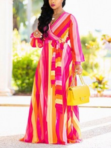 Pink Color Block Print Sashes Draped High Waisted Long Sleeve Deep V-neck Bohemian Maxi Dress