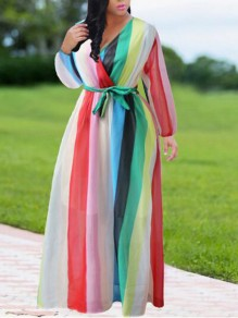 White Striped Sashes Rainbow Lantern Sleeve Deep V-neck Bohemian Flowy Maxi Dress
