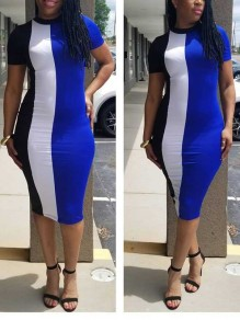 Navy Blue Striped Print Round Neck Bodycon Clubwear Party Midi Dress
